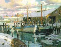 Mosher Gallery, Fishermans Wharf painting